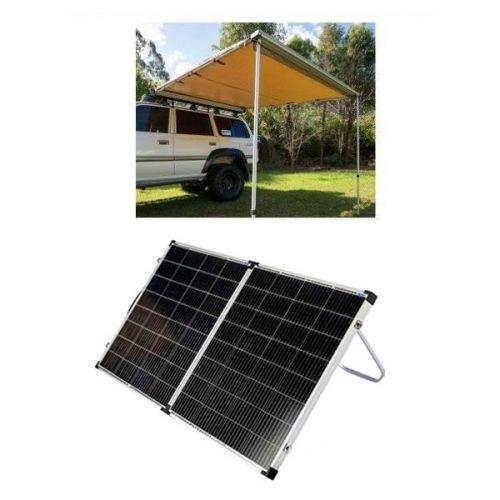Adventure Kings Awning 2.5x2.5m + Kings Premium 160w Solar Panel with MPPT Regulator