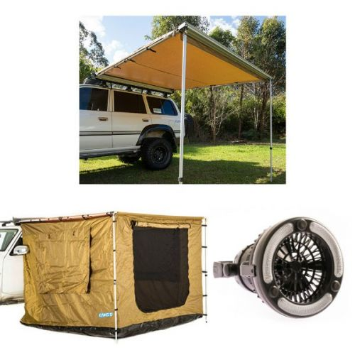 Adventure Kings Awning 2.5x2.5m + Adventure Kings Awning Tent 2.5 x 2.5m + Adventure Kings 2in1 LED Light & Fan