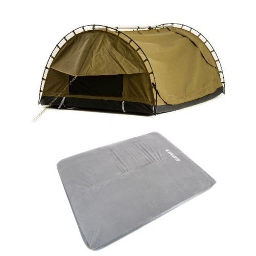 Adventure Kings Big Daddy Canvas Shell & Poles + Self Inflating 100mm Foam Mattress - Queen
