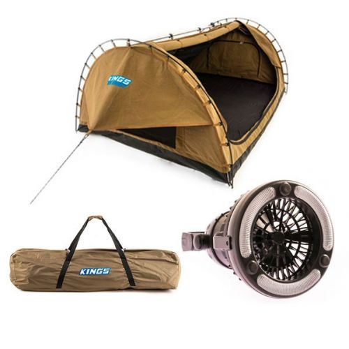 Adventure Kings Big Daddy Double Swag + Big Daddy Polyester Bag + 2in1 LED Light & Fan