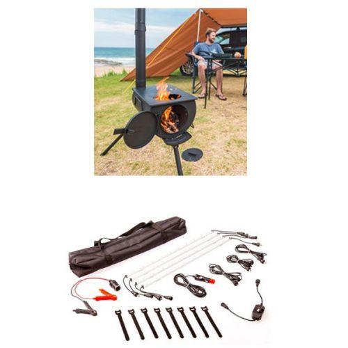 Adventure Kings Camp Oven/Stove + Illuminator 4 Bar Camp Light Kit