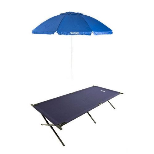 Adventure Kings Camping Stretcher Bed + Beach Umbrella