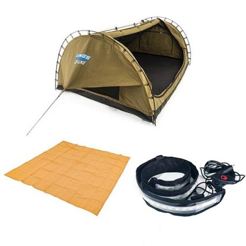 Adventure Kings Double Swag Big Daddy Deluxe + Illuminator MAX LED Strip Light + Adventure Kings - Mesh Flooring 3m x 3m