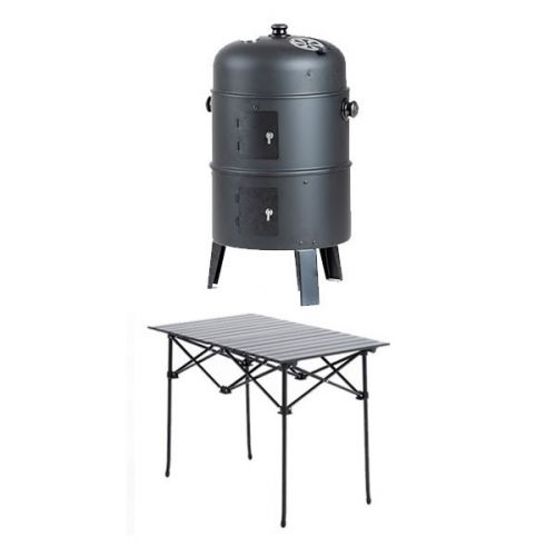 Adventure Kings Portable Meat Smoker + Aluminium Roll Up Camping Table