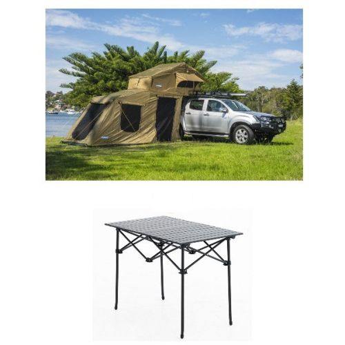 Adventure Kings Roof Top Tent + 6-man Annex + Aluminium Roll-Up Camping Table