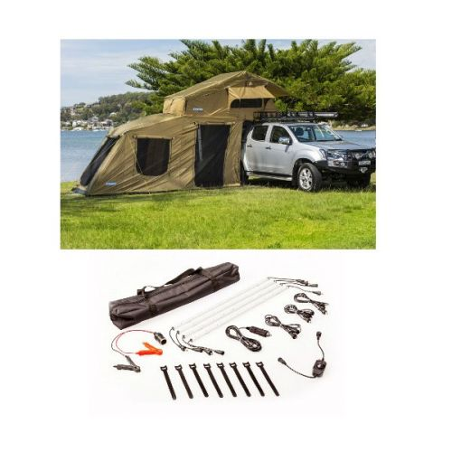 Adventure Kings Roof Top Tent + 6-man Annex + Illuminator 4 Bar Camp Light Kit