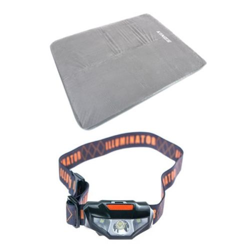 Adventure Kings Self Inflating Foam Mattress - Queen + Illuminator LED Head Torch