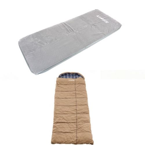 Adventure Kings Self-Inflating Foam Mattress - Single + Premium Sleeping bag -5°C to 5°C Degrees Celsius Right Zipper