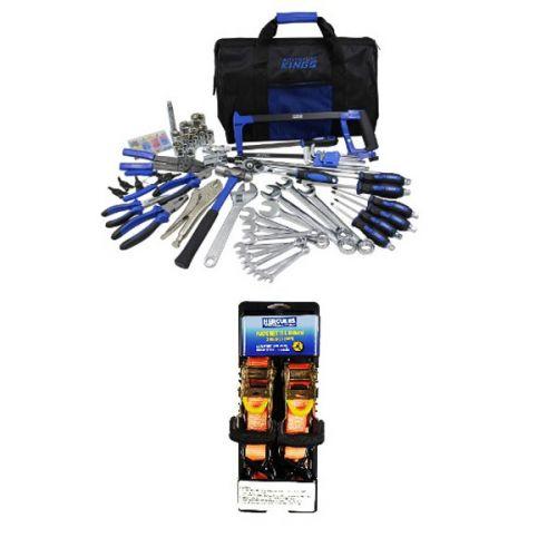 Adventure Kings Tool Kit - Ultimate Bush Mechanic + Hercules Heavy Duty 3m Ratchet Strap (2 pack)