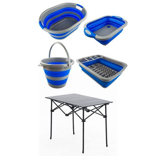 Adventure Kings Collapsible Sink + Collapsible 10L Bucket + Collapsible Laundry Basket + Collapsible Dish Rack + Aluminium Roll-Up Camping Table