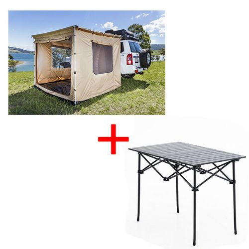 Adventure Kings 2x3m Awning Tent + Aluminium Roll-Up Camping Table