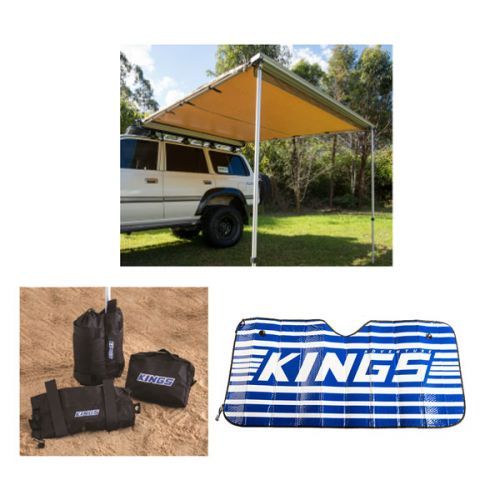 Adventure Kings 2.5x2.5m Awning + Sunshade + Sand bag (pair)