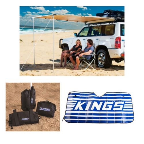 Adventure Kings 2x2.5m Awning + Sunshade + Sand Bags (pair)