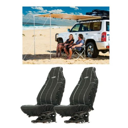 Adventure Kings Awning 2x2.5m + Adventure Kings Heavy Duty Seat Covers (Pair)