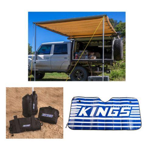 Adventure Kings Awning 2x3m + Adventure Kings Sand Bags (pair) + Sunshade