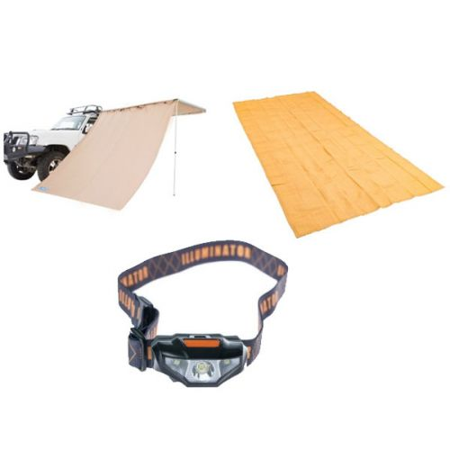 Adventure Kings Awning Side Wall + Mesh Flooring 6m x 3m + Illuminator LED Head Torch