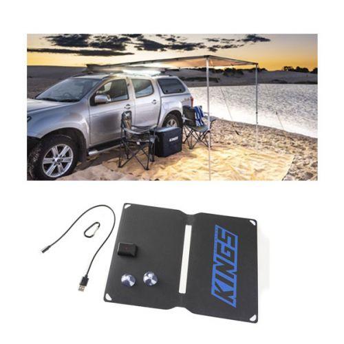 2 x 2.5m 2 in 1 Awning + Strip Light + 10W Portable Solar Panel