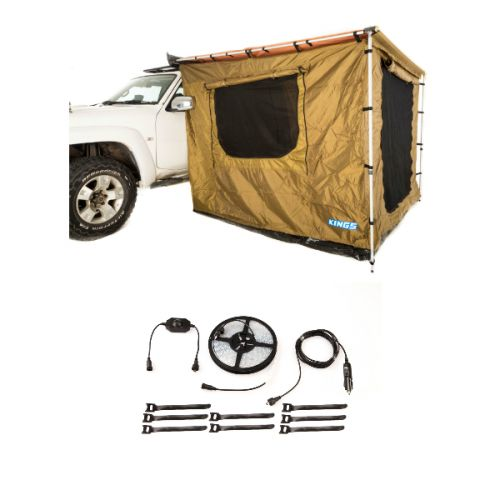 Adventure Kings 2x3m Awning Tent + Illuminator 4m MAX LED Strip Light