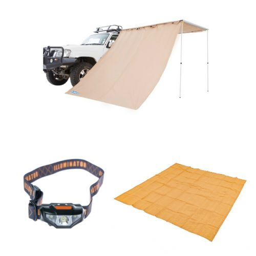 Adventure Kings Awning wall + Mesh Flooring 3m x 3m + Illuminator LED Head Torch