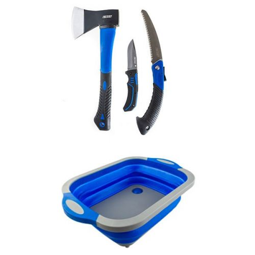 Kings Three Piece Axe, Folding Saw and Knife Kit + Adventure Kings Collapsible Sink