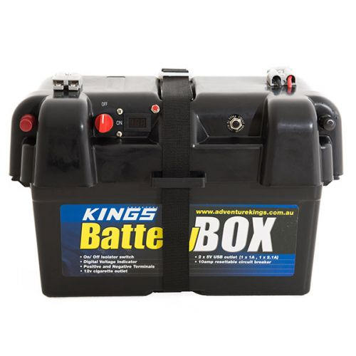 Kings Battery Box Portable 12V | 2x USB & Cig Socket | Fits Most Deep-Cycle Batteries