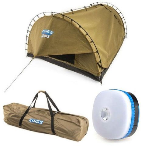 Kings Big Daddy Deluxe Double Swag + Polyester Swag Bag + Mini Lantern