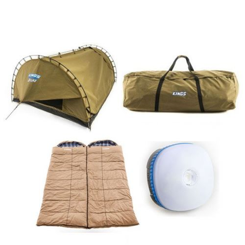 Adventure Kings 'Big Daddy' Deluxe Double Swag + 2x Premium Sleeping bag + Swag Canvas Bag + Mini Lantern