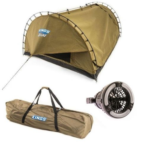 Kings Big Daddy Deluxe Double Swag + Polyester Swag Bag + 2in1 LED Light & Fan
