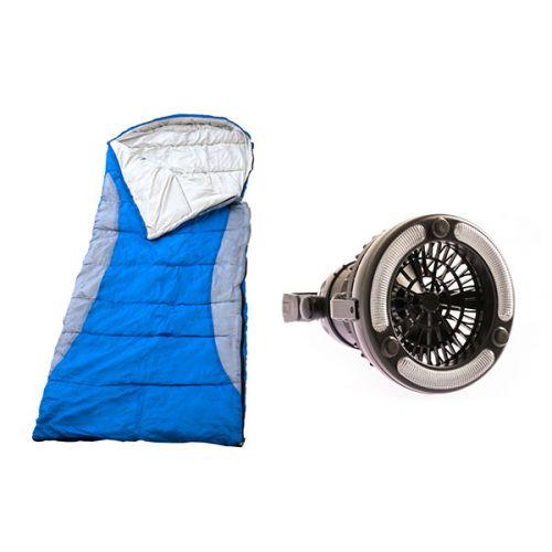 Adventure Kings Left Hooded Sleeping Bag + 2in1 LED Light & Fan