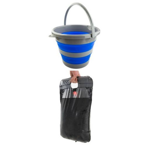 Adventure Kings Collapsible 10L Bucket + Camping Solar Shower