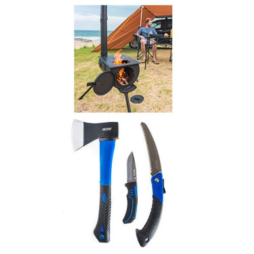 Adventure Kings Camp Oven/Stove + Kings Three Piece Axe, Folding Saw and Knife Kit