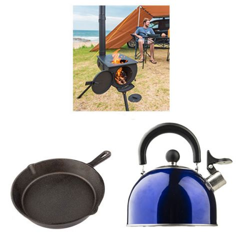 Adventure Kings Camp Oven/Stove + Adventure Kings Camping Kettle + Cast Iron Skillet Pan