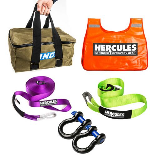2x 4x4 Bow Shackle + Winch Extension Strap + Tree Trunk Protector + Winch Dampener + Canvas Recovery Bag
