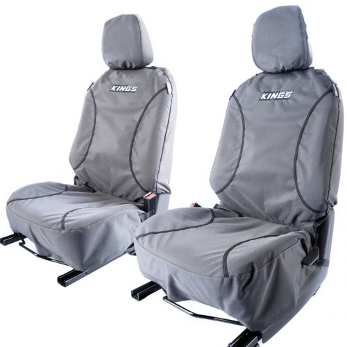 Kings Universal Premium Canvas Seat Covers (Pair) | Universal DIY Fit | 9oz Premium Poly Canvas | Airbag Compliant