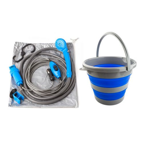 Adventure Kings Collapsible 10L Bucket + Portable Shower Kit