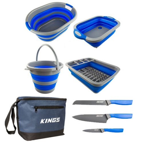 Adventure Kings Collapsible Sink + Collapsible 10L Bucket + Collapsible Laundry Basket + Collapsible Dish Rack + Cooler Bag + 4-Piece Camping Chef's Knives Kit