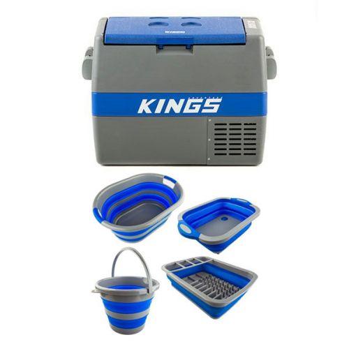 60L Camping Fridge/Freezer + Collapsible Sink + Collapsible 10L Bucket + Collapsible Laundry Basket + Collapsible Dish Rack