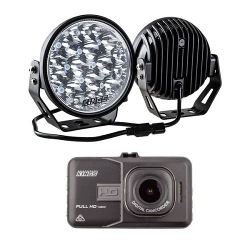 "Kings 7"" LED Driving Lights (Pair) + High-Def Dash Camera"