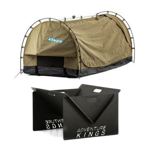 Kings Deluxe Escape Single Swag + Portable Steel Fire Pit