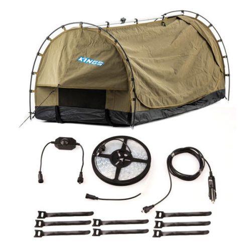 Kings Deluxe Escape Single Swag + 4-Metre 12v LED Camping Strip Light