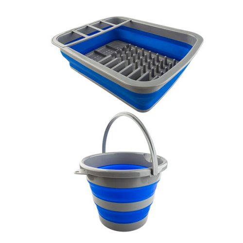 Adventure Kings Collapsible 10L Bucket + Collapsible Dish Rack