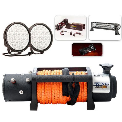 "Domin8r X 12,000lb Winch with rope + Complete 9"" Driving Lights, 22"" Light Bar Pack"