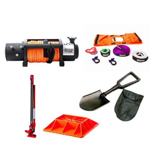 "Domin8r X 12,000lb Winch with rope + Hercules Essential Nylon Recovery Kit + Offroad Jack 48"" + Jack Base + Recovery Folding Shovel"