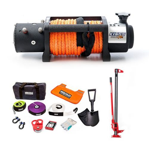 """Domin8r X 12,000lb Winch with rope + Hercules Complete Recovery Kit + Offroad Jack 48"""""""