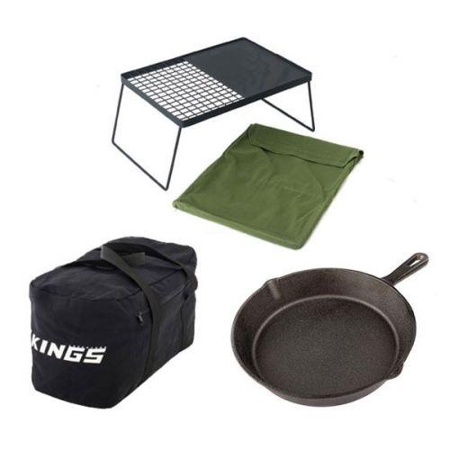 Adventure Kings 40L Duffle Bag + Camp Fire BBQ Plate + Skillet Pan