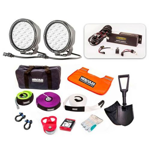 """Essential 7"""" Driving Light Pack + Hercules Complete Recovery Kit"""