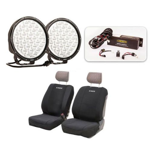 "Essential 9"" Driving Light Pack + Adventure Kings Neoprene Front Seat Covers"