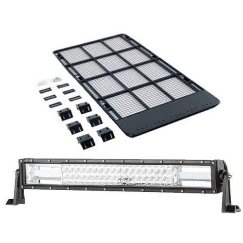 """Kings Steel Flat Roof Rack + Domin8r 22"""" LED Light Bar"""