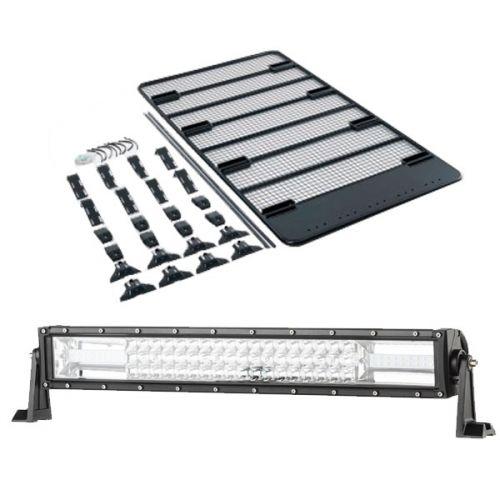 """Steel Flat Rack For Gutter Mount Vehicles + Domin8r 22"""" LED Light Bar"""