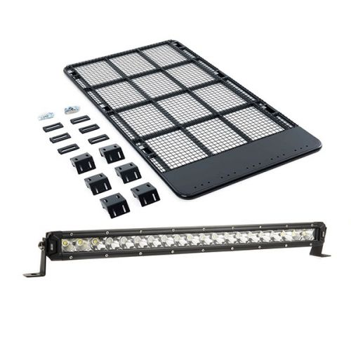 "Steel Flat Rack suitable for 150 Series Prado + 20"" LETHAL MKIII Slim Line LED Light Bar"